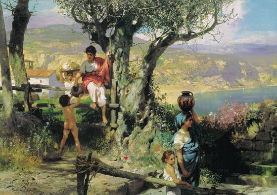 Siemiradzki, Henryk Hektor: In a Village (Ancient Rome). Fine Art Print/Poster. Sizes: A4/A3/A2/A1 (002681)